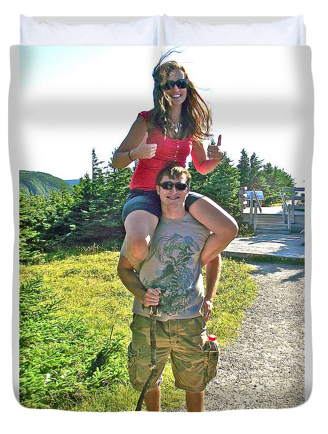 Darling Young Couple From Saskatchewan On Skyline Trail In Cape Breton Highlands Np Duvet Cover featuring the photograph Couple From Saskatchewan On Skyline Trail In Cape Breton Highlands National Park-nova Scotia-canada by Ruth Hager
