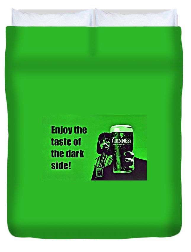 Beer Duvet Cover featuring the painting Darth Drinks Guinness by Florian Rodarte
