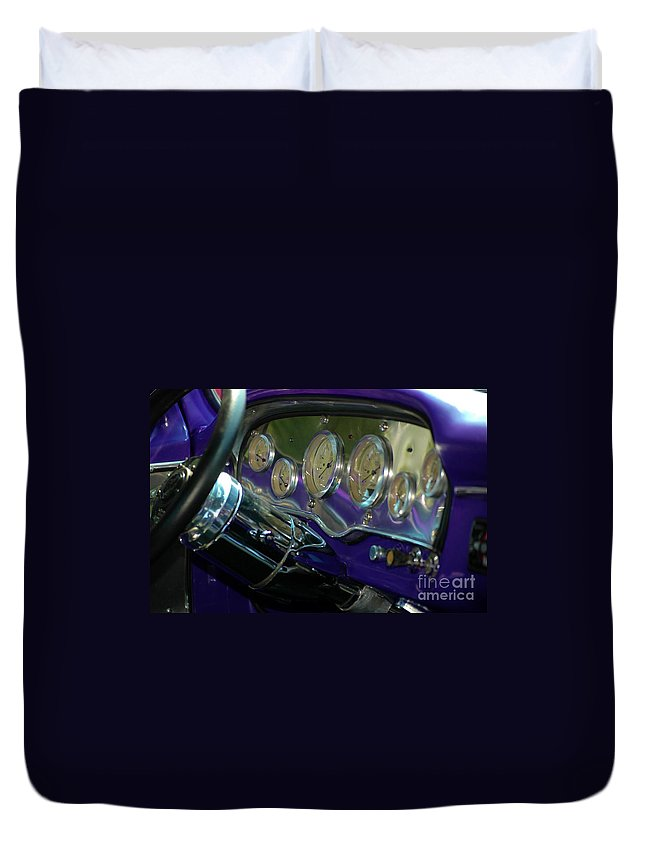 Purple Duvet Cover featuring the photograph Dashboard Glam by Christiane Hellner-OBrien
