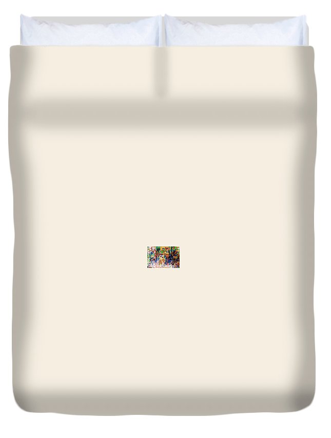Torah Duvet Cover featuring the drawing Resolution Of Dispute 1 by David Baruch Wolk