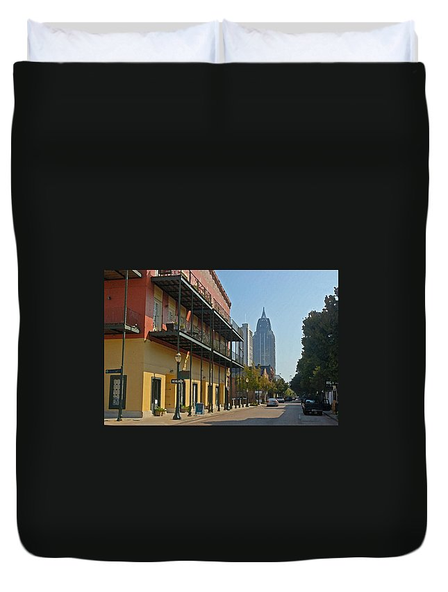 Mobile Duvet Cover featuring the digital art Dauphin Street by Michael Thomas
