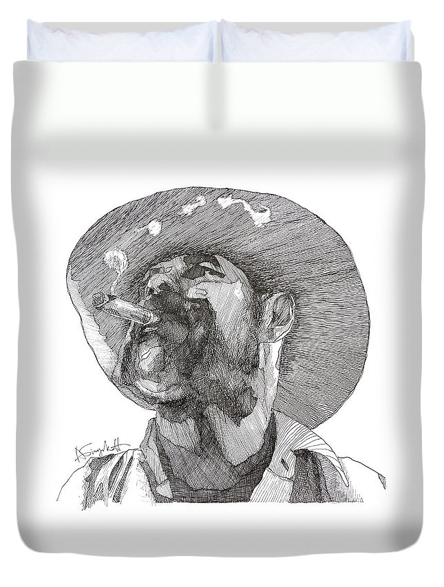 Biryukoff Duvet Cover featuring the drawing Dave by Alexei Biryukoff