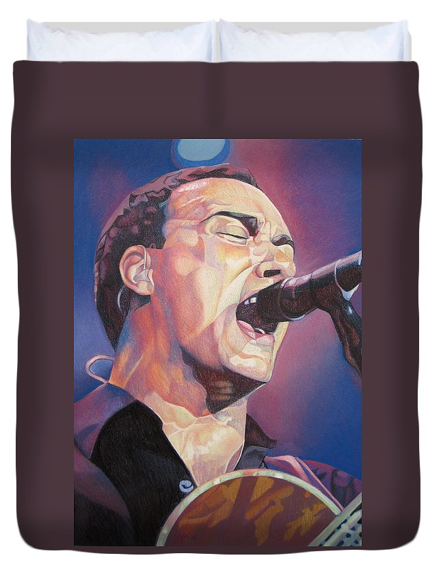 Dave Matthews Duvet Cover featuring the drawing Dave Matthews Colorful Full Band Series by Joshua Morton