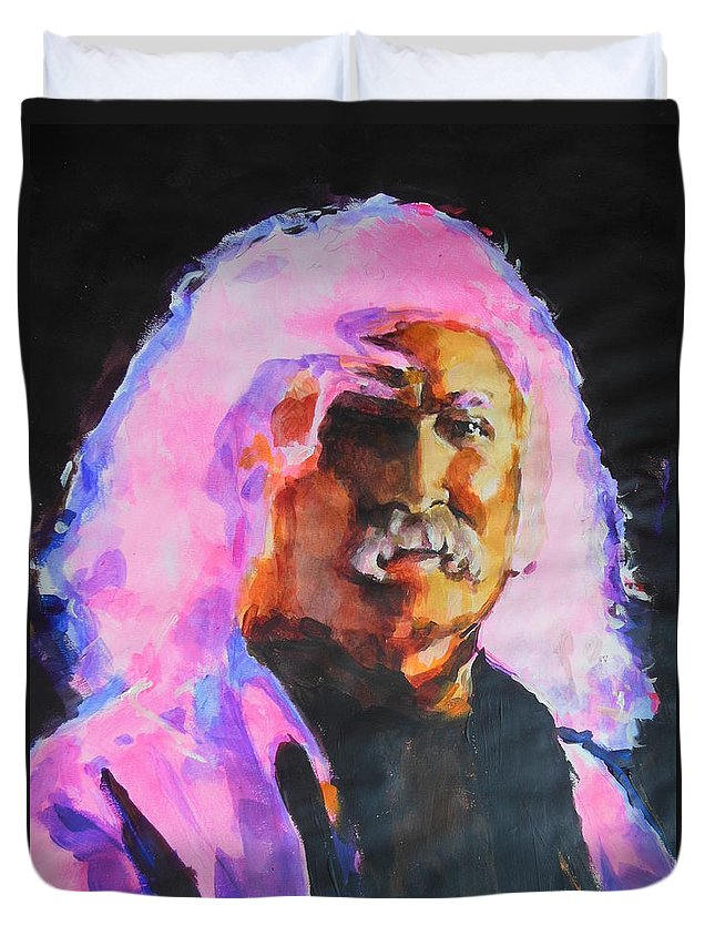 David Crosby Duvet Cover featuring the painting David Crosby by Lucia Hoogervorst