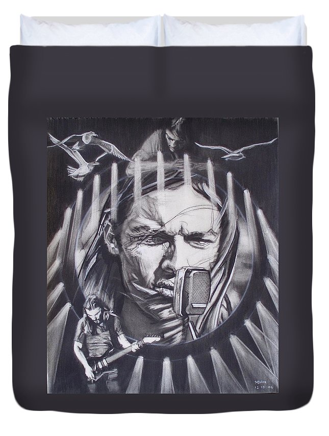 Charcoal Pencil On Paper Duvet Cover featuring the drawing David Gilmour Of Pink Floyd - Echoes by Sean Connolly