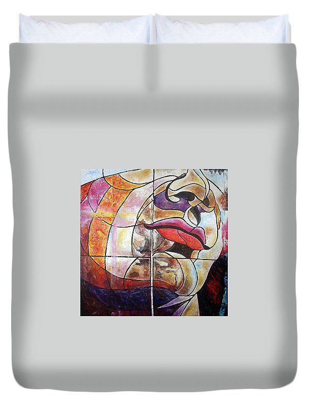 Face Duvet Cover featuring the painting David by Karina Llergo