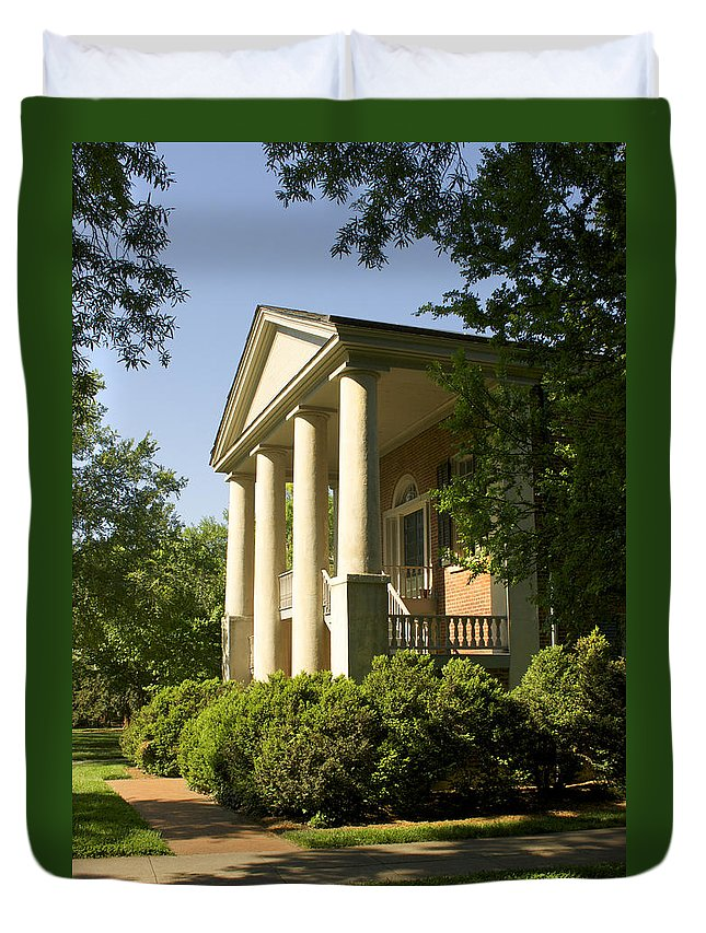 Davidson College Duvet Cover featuring the photograph Davidson College Eumenean Hall by Orange Cat Art