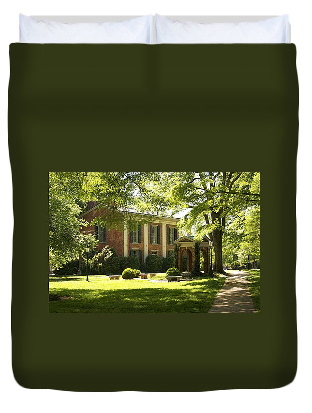 Davidson College Duvet Cover featuring the photograph Davidson College Old Well And Philanthropic Hall by Orange Cat Art