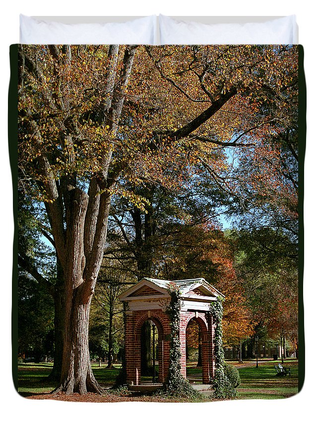 Davidson College Duvet Cover featuring the photograph Davidson College Old Well In Autumn by Orange Cat Art