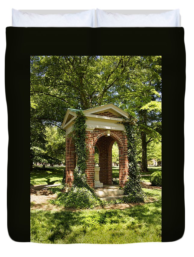 Davidson College Duvet Cover featuring the photograph Davidson College Old Well by Orange Cat Art
