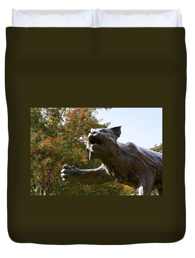 Davidson College Duvet Cover featuring the photograph Davidson College Wildcat Statue by Orange Cat Art