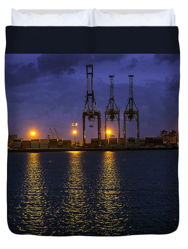 Architecture Duvet Cover featuring the photograph Dawn Cloaks The Port Of Long Beach by Denise Dube