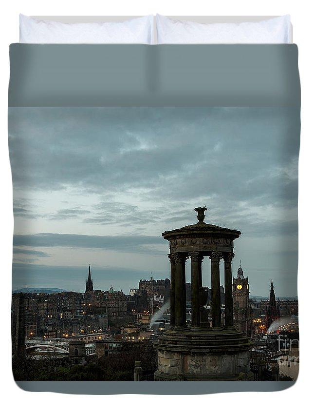 Edinburgh Duvet Cover featuring the photograph Dawn In Edinburgh by John Daly