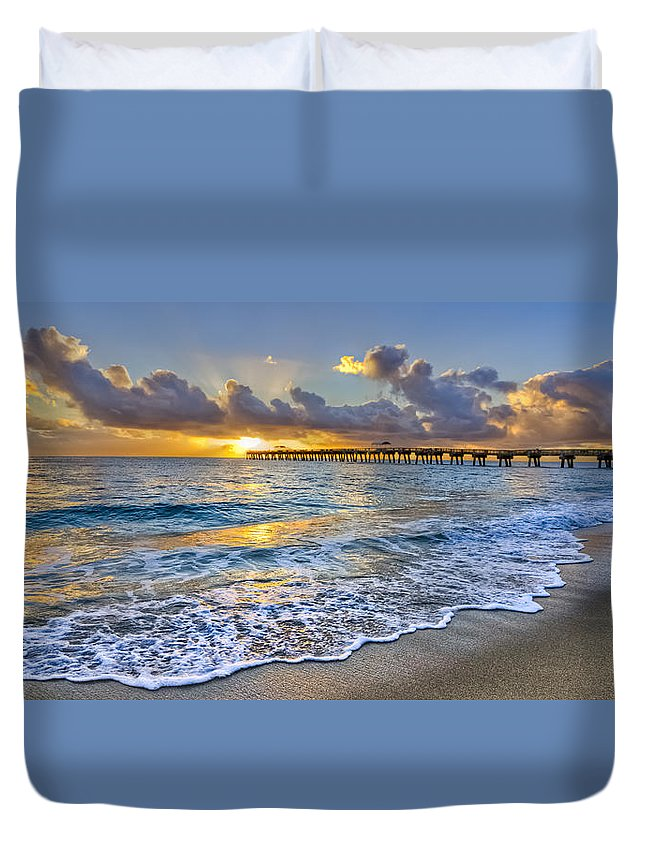 Atlantic Duvet Cover featuring the photograph Dawn Lace by Debra and Dave Vanderlaan