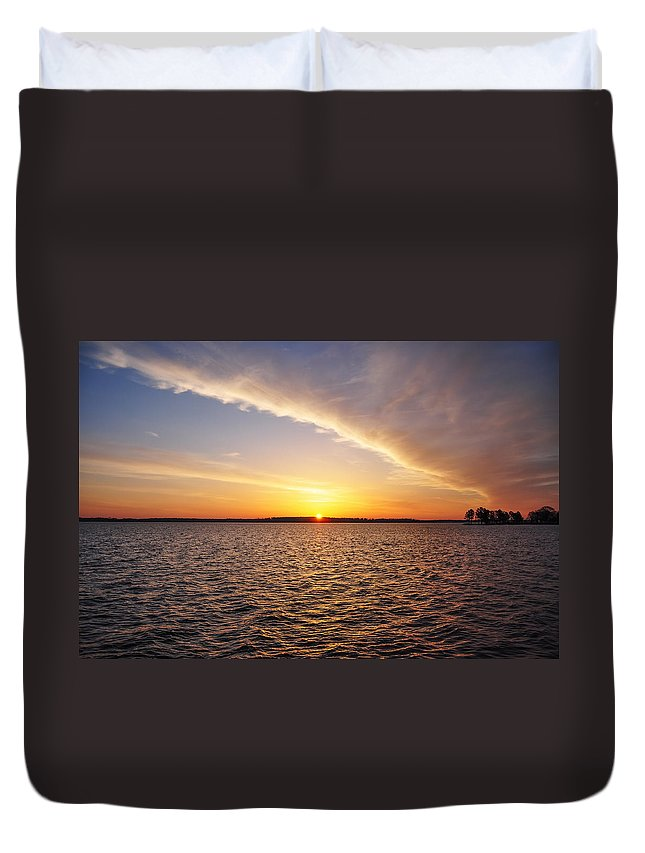 Dawn Duvet Cover featuring the photograph Dawn On The Chesapeak - St Michael's Maryland by Bill Cannon