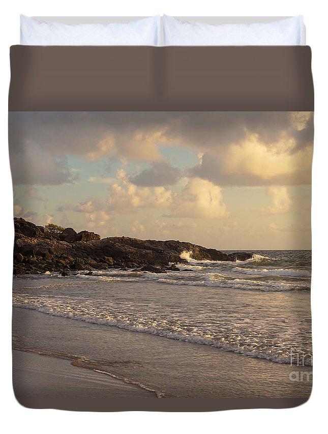 Port Douglas Australia Water Ocean Oceans Coral Sea Seas Sand Sands Sunrise Sunrises Dawn Storm Cloud Storms Sun Waterscape Waterscapes Wave Waves Tree Trees Landscape Landscapes Duvet Cover featuring the photograph Dawn On The Coral Sea by Bob Phillips