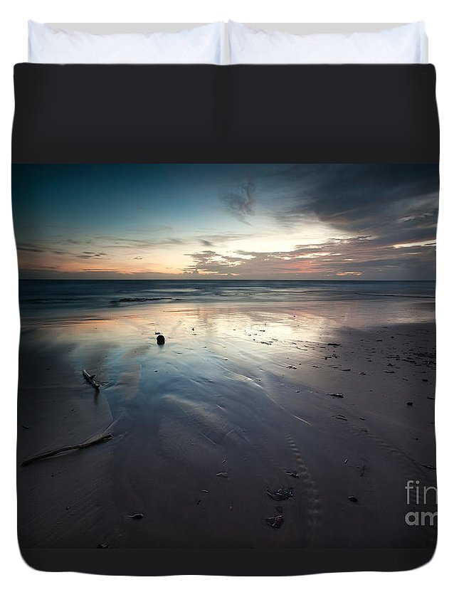 Landscape Duvet Cover featuring the photograph Dawn Over Barbados Beach On The East Coast by Matteo Colombo
