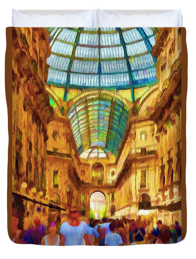 Galleria Duvet Cover featuring the painting Day At The Galleria by Jeffrey Kolker