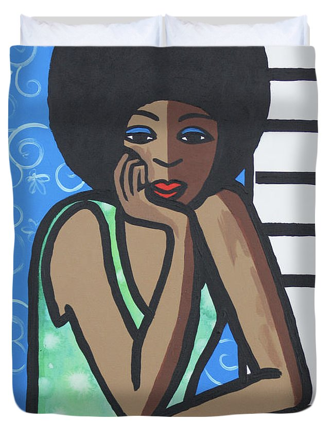 Afro Duvet Cover featuring the painting Day Dreamer by Trudie Canwood