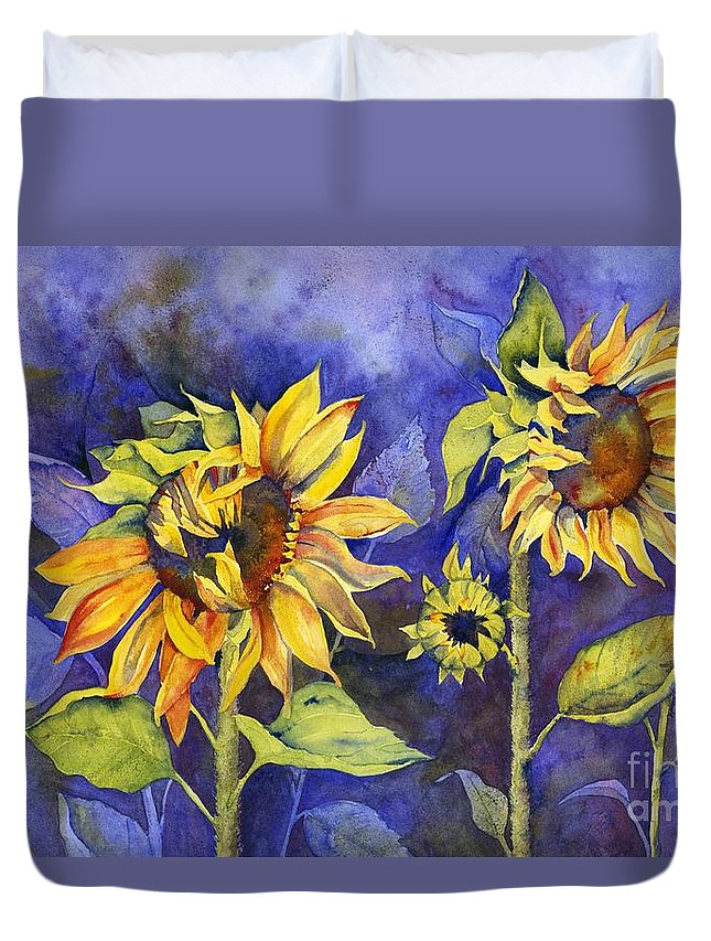 Sunflower Duvet Cover featuring the painting Day Dreaming by Jackie Friesth
