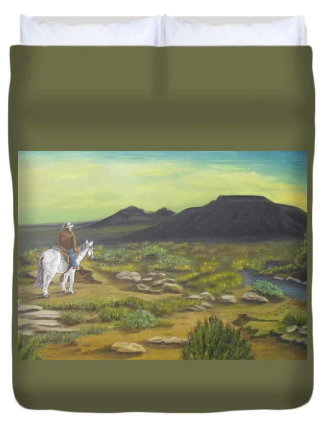 Mountain Duvet Cover featuring the painting Day Is Done by Sheri Keith