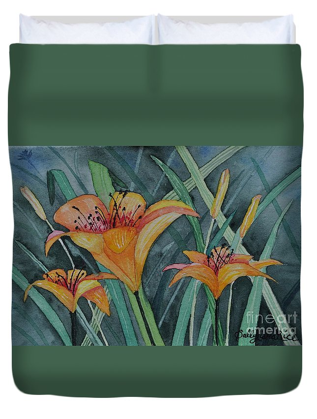 Day Lillie's Duvet Cover featuring the painting Day Lillie's by Sally Rice