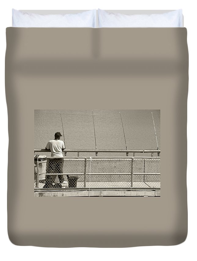 Fish Duvet Cover featuring the photograph Day Of Fishing by Charles Beeler