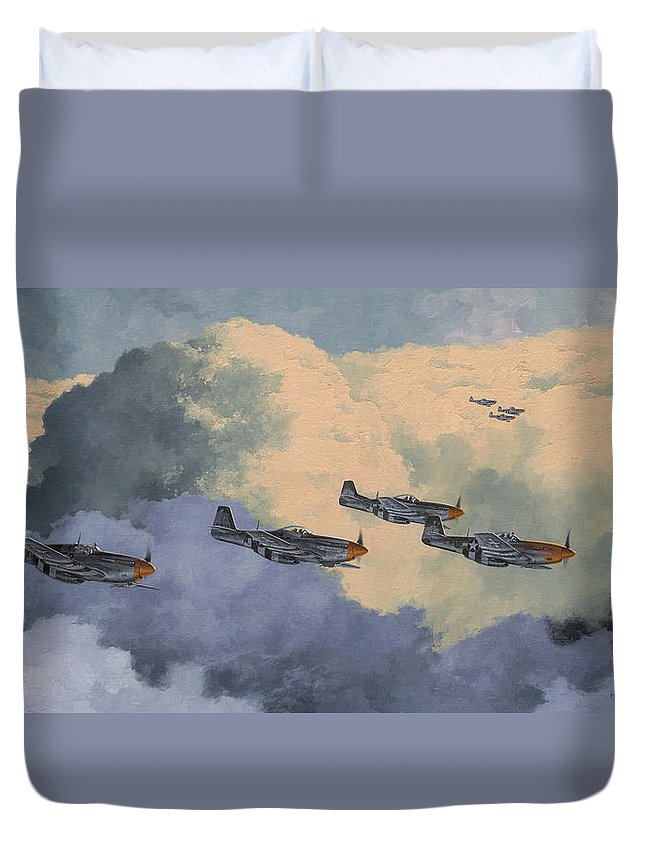 Aviation Art Duvet Cover featuring the painting Daydreams Over Cambridgeshire by Wade Meyers