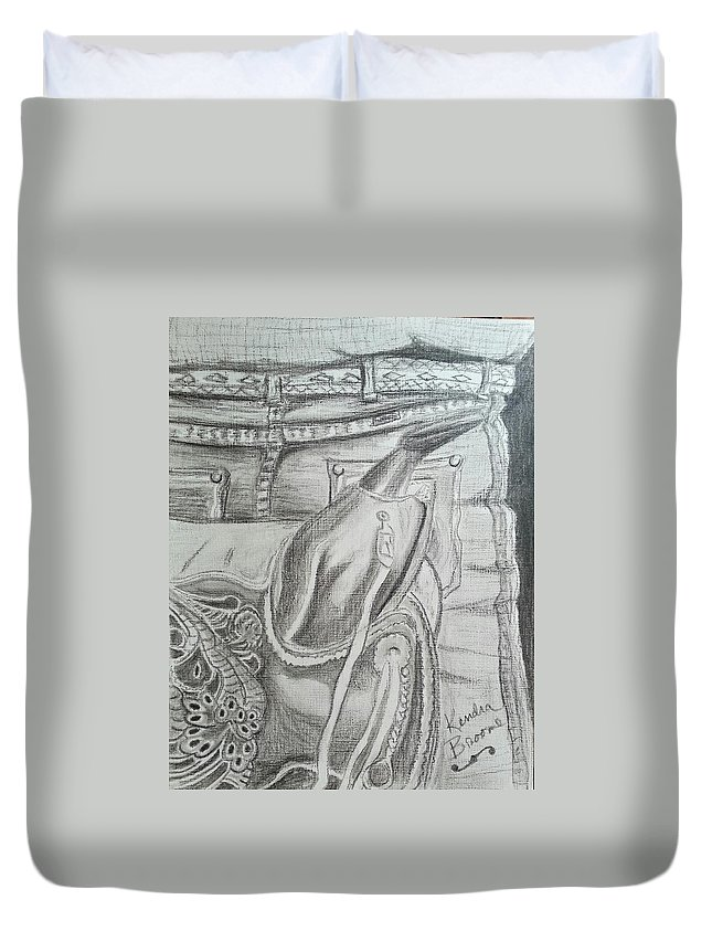 Saddle Duvet Cover featuring the drawing Days Done by Kendra DeBerry