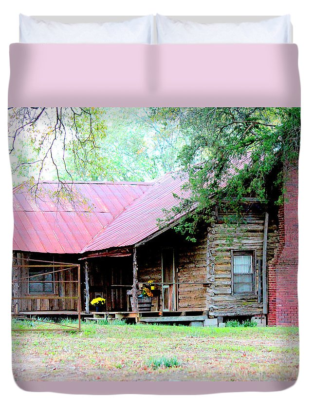 Rustic Houses Duvet Cover featuring the photograph Days Long Gone by Kathy White