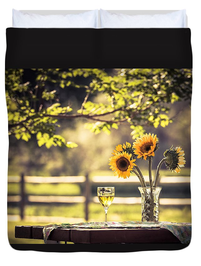 Sunflower Duvet Cover featuring the photograph Days Of Summer by Jacquelyn Crady