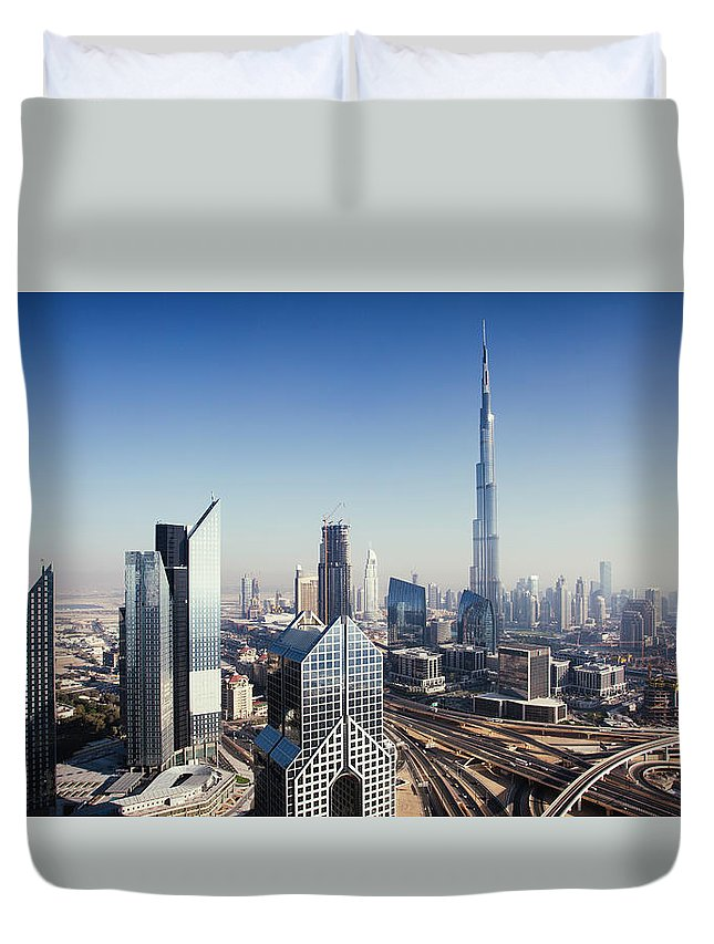 Downtown District Duvet Cover featuring the photograph Dbuai Sky Line With Traffic Junction by Tempura