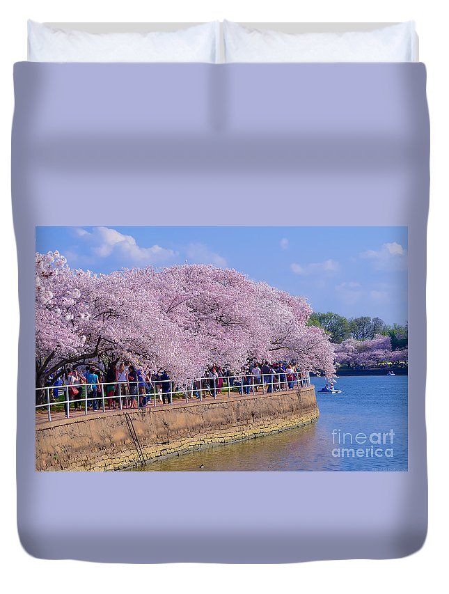 2012 Centennial Celebration Duvet Cover featuring the photograph Dc Blossom Visitors by Jeff at JSJ Photography