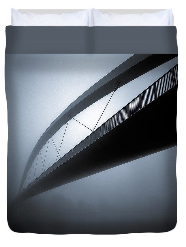 Bridge Abstract Duvet Cover featuring the photograph De Hoge Brug by Dave Bowman