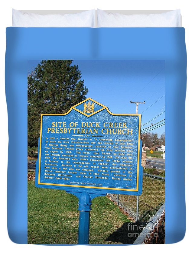 Historic Marker Duvet Cover featuring the photograph De-kc81 Site Of Duck Creek Presbyterian Church by Jason O Watson