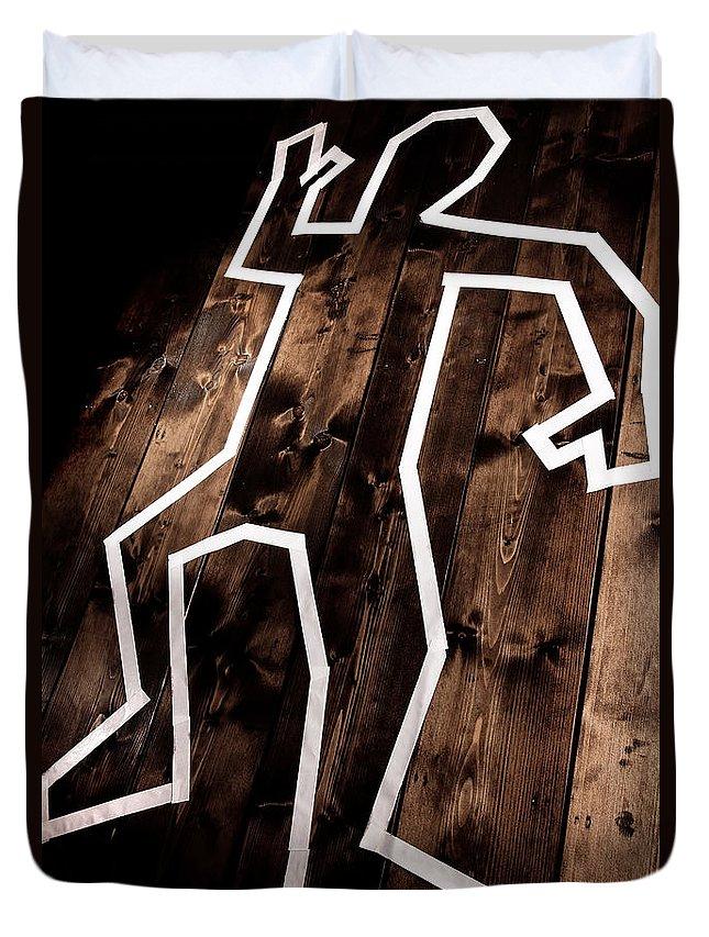 Crime Duvet Cover featuring the photograph Dead Man Outline On Floor by Simon Bratt Photography LRPS
