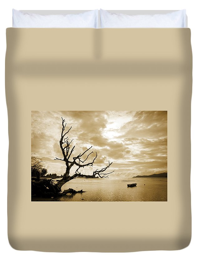 Landscape Duvet Cover featuring the photograph Dead Tree And Sea by Alexey Stiop