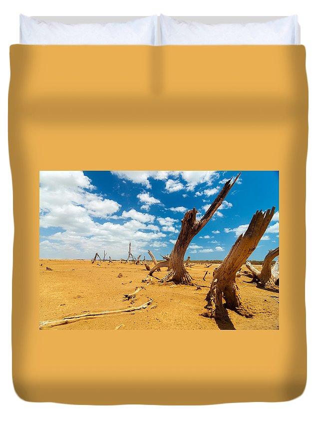Desert Duvet Cover featuring the photograph Dead Trees In A Desert Wasteland by Jess Kraft
