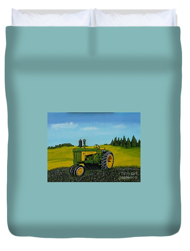John Deere Duvet Cover featuring the painting Dear John by Anthony Dunphy