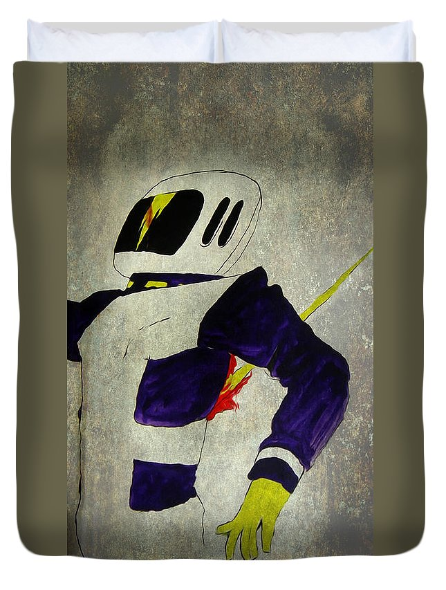 Space Duvet Cover featuring the painting Death Of An Astronaut by Bruce Stanfield
