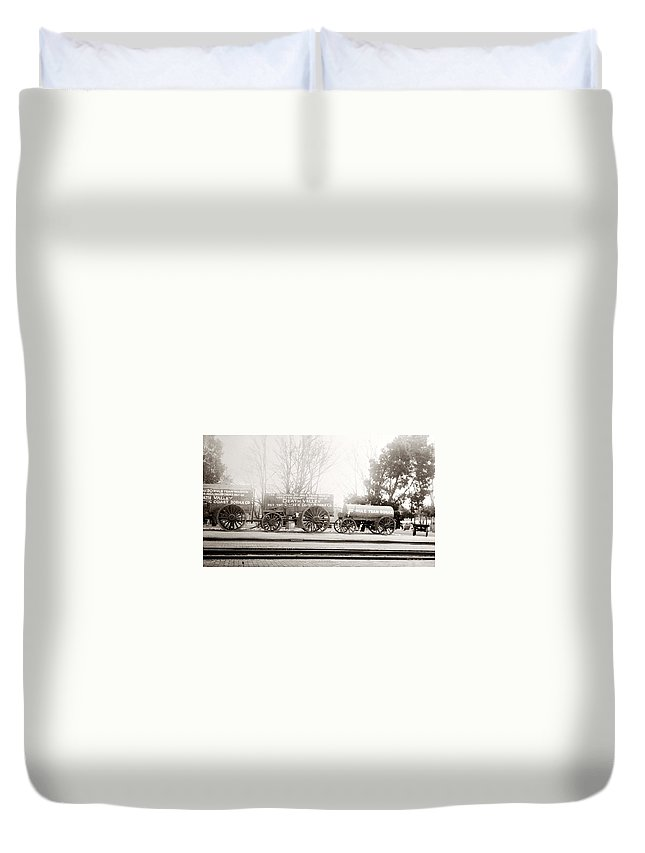 Death Valley Duvet Cover featuring the photograph Death Valley Borax Mule Team by Marilyn Hunt
