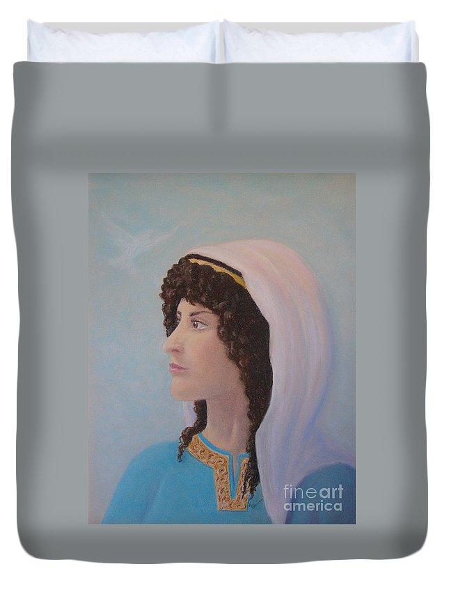 Prophetess Duvet Cover featuring the pastel Deborah  Prophetess And Judge by Lynn Quinn