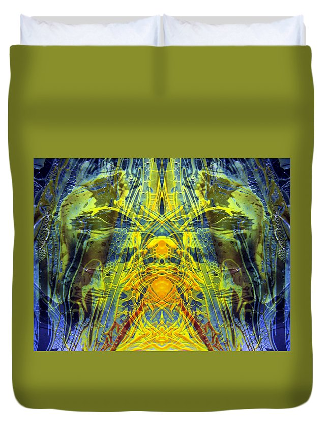 Surrealism Duvet Cover featuring the digital art Decalcomaniac Intersection 1 by Otto Rapp