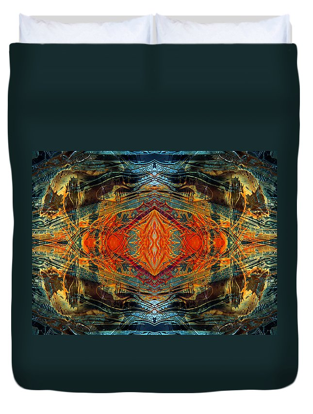 Surrealism Duvet Cover featuring the digital art Decalcomaniac Intersection 2 by Otto Rapp