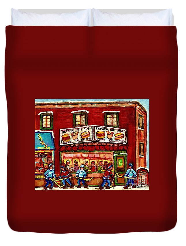Montreal Duvet Cover featuring the painting Decarie Hot Dog Restaurant Cosmix Comic Store Montreal Paintings Hockey Art Winter Scenes C Spandau by Carole Spandau
