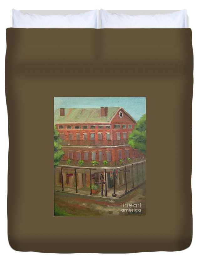 New Orleans Duvet Cover featuring the painting Decatur by Lilibeth Andre
