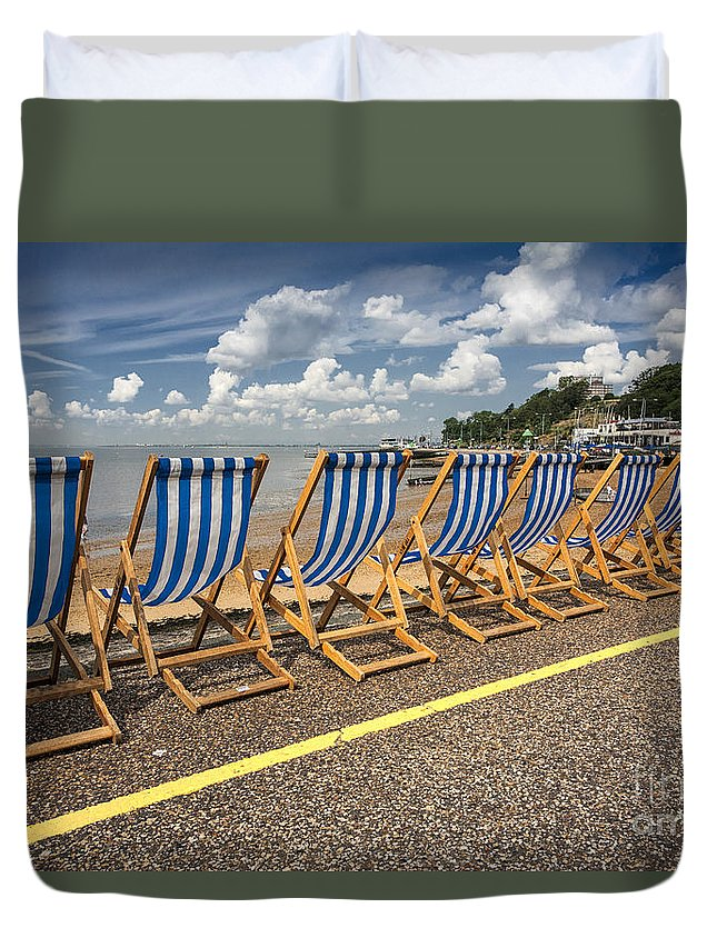 Empty Deckchairs Duvet Cover featuring the photograph Deckchairs at Southend by Sheila Smart Fine Art Photography