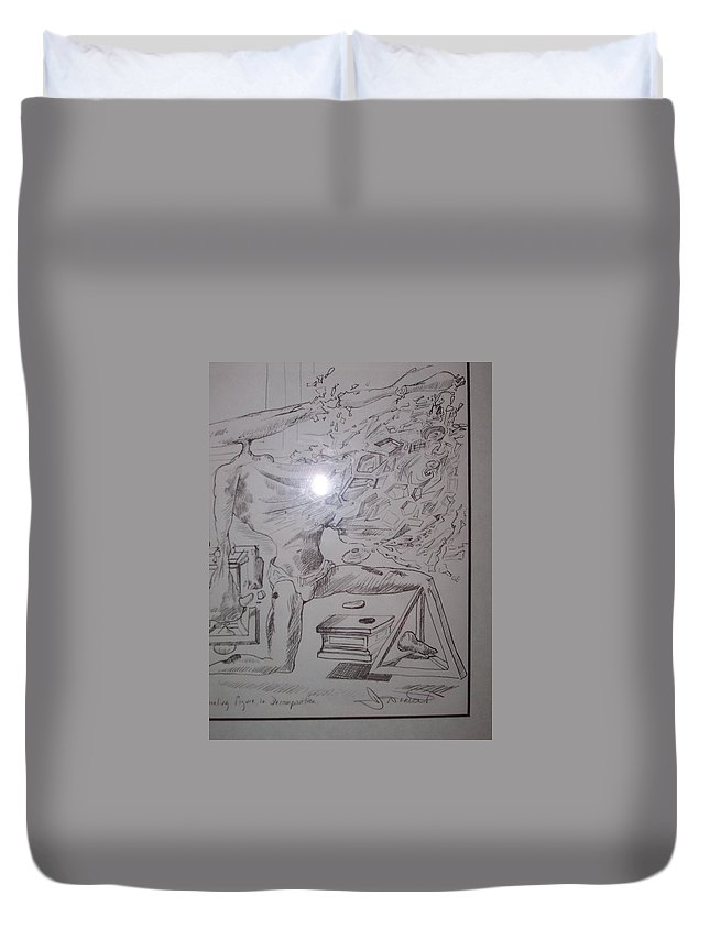 Duvet Cover featuring the painting Decomposition Of Kneeling Man by Jude Darrien