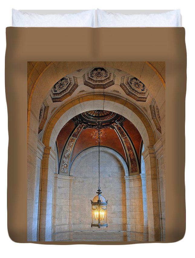 New York Public Library Duvet Cover featuring the photograph Decorative Light At The New York Public Library by Dave Mills