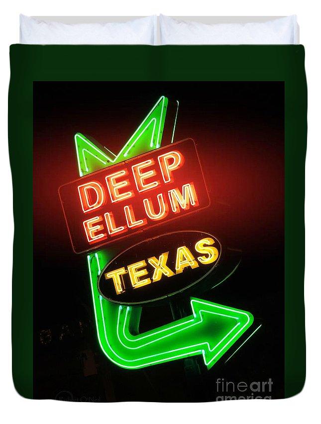 Deep Ellum Duvet Cover featuring the photograph Deep Ellum Red Glow by Robert ONeil